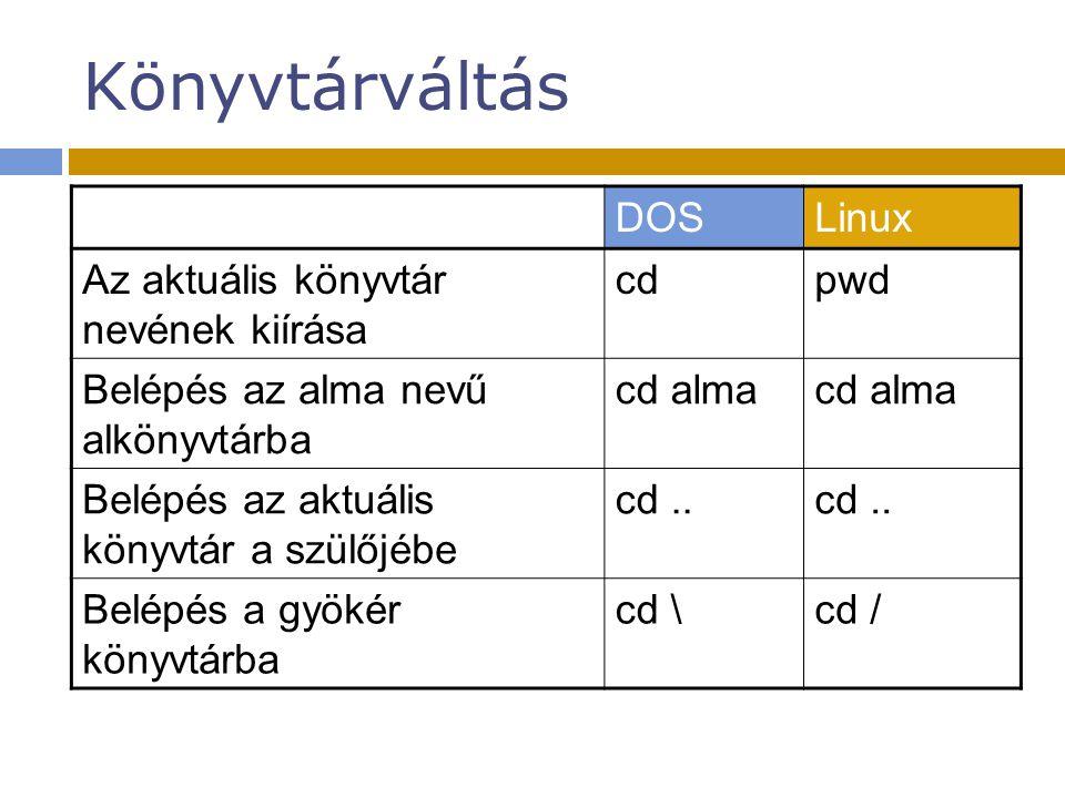 Könyvtárváltás DOSLinux Az aktuális könyvtár nevének kiírása cdpwd Belépés az alma nevű alkönyvtárba cd alma Belépés az aktuális könyvtár a szülőjébe