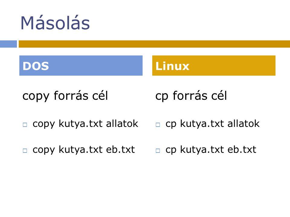 Másolás copy forrás cél  copy kutya.txt allatok  copy kutya.txt eb.txt cp forrás cél  cp kutya.txt allatok  cp kutya.txt eb.txt DOSLinux