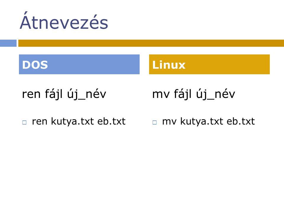 Átnevezés ren fájl új_név  ren kutya.txt eb.txt mv fájl új_név  mv kutya.txt eb.txt DOSLinux