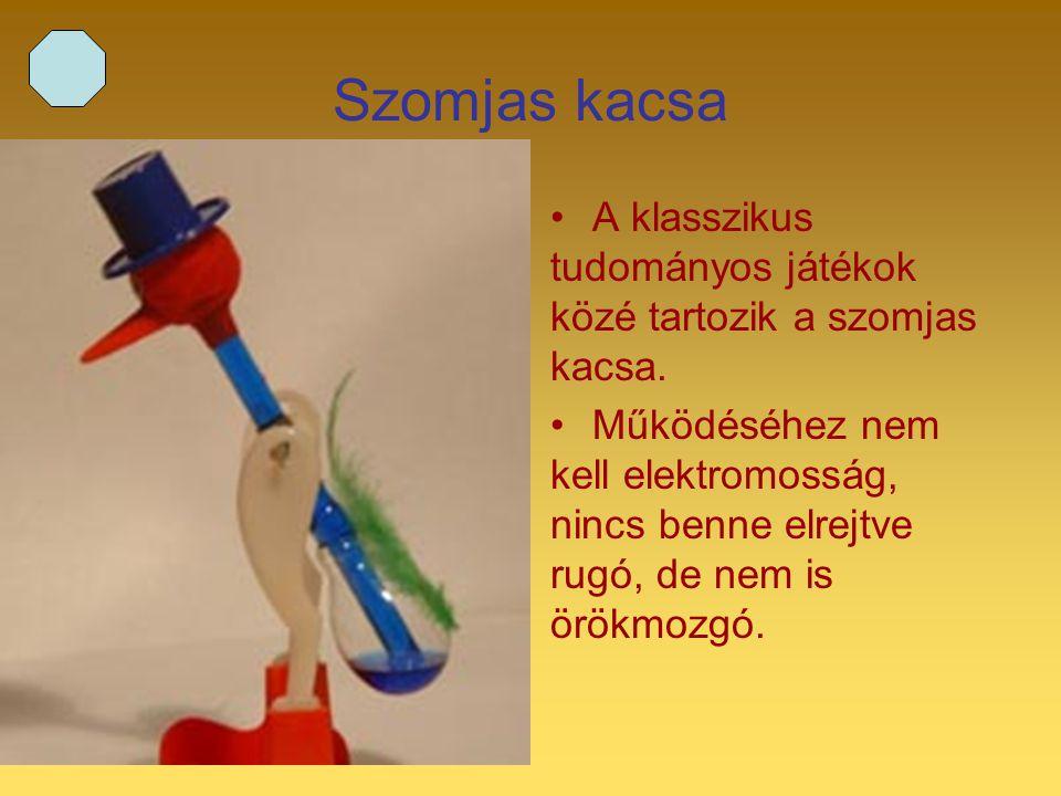 2 Szomjas kacsa A klasszikus tudományos játékok közé tartozik a szomjas kacsa. Működéséhez nem kell elektromosság, nincs benne elrejtve rugó, de nem i