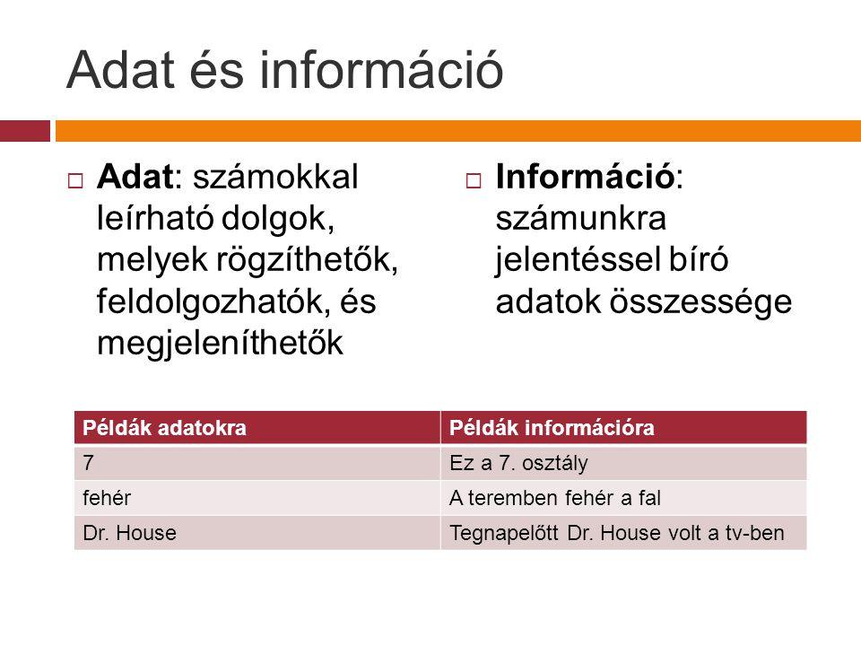  Adat: számokkal leírható dolgok, melyek rögzíthetők, feldolgozhatók, és megjeleníthetők  Információ: számunkra jelentéssel bíró adatok összessége Példák adatokraPéldák információra 7Ez a 7.