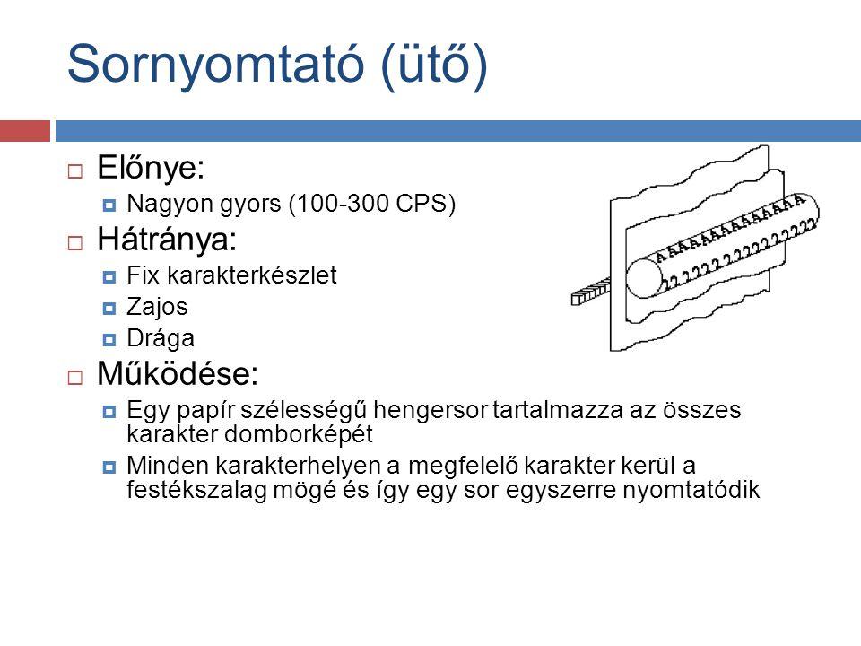 Sornyomtató (ütő)  Előnye:  Nagyon gyors (100-300 CPS)  Hátránya:  Fix karakterkészlet  Zajos  Drága  Működése:  Egy papír szélességű hengerso