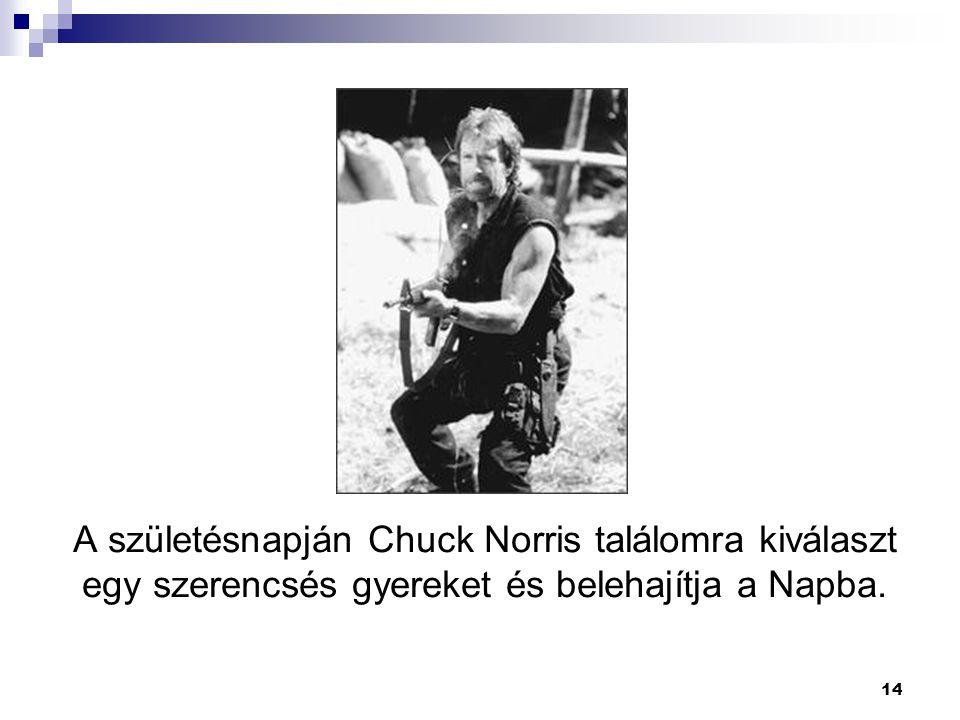 14 A születésnapján Chuck Norris találomra kiválaszt egy szerencsés gyereket és belehajítja a Napba.