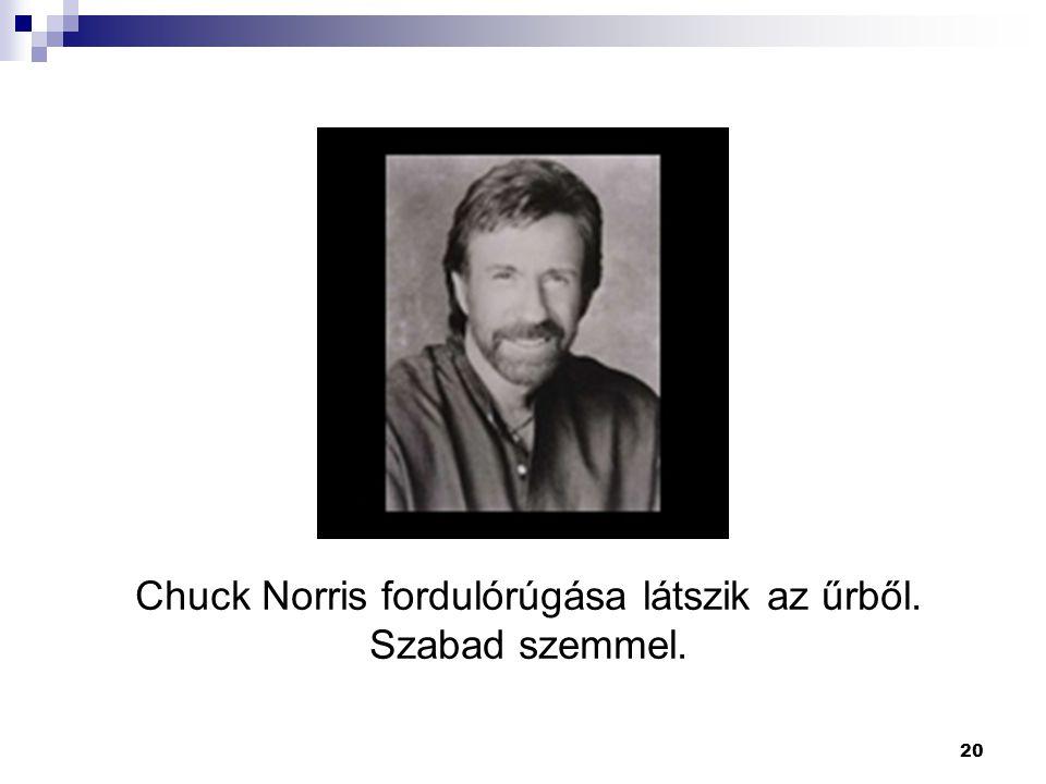 20 Chuck Norris fordulórúgása látszik az űrből. Szabad szemmel.