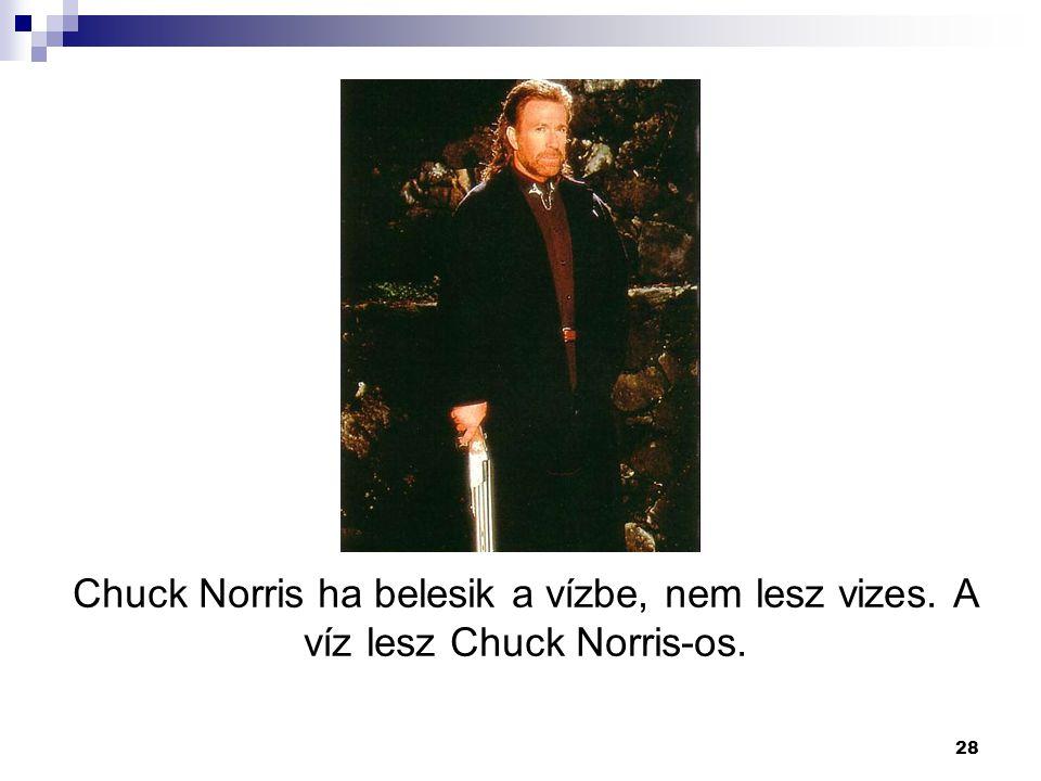 28 Chuck Norris ha belesik a vízbe, nem lesz vizes. A víz lesz Chuck Norris-os.