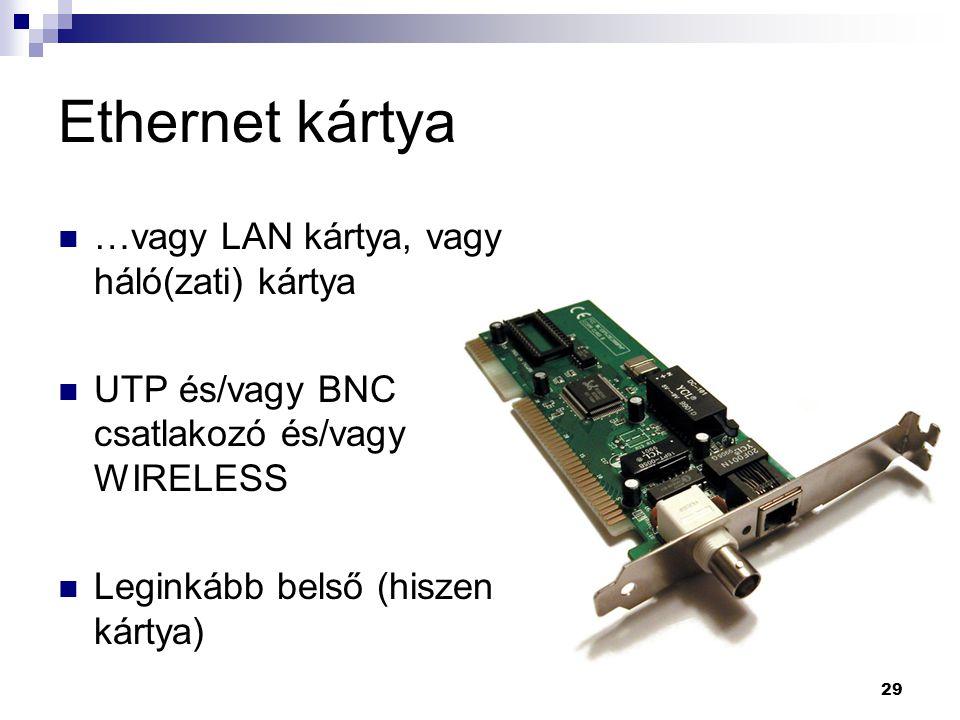 29 Ethernet kártya …vagy LAN kártya, vagy háló(zati) kártya UTP és/vagy BNC csatlakozó és/vagy WIRELESS Leginkább belső (hiszen kártya)