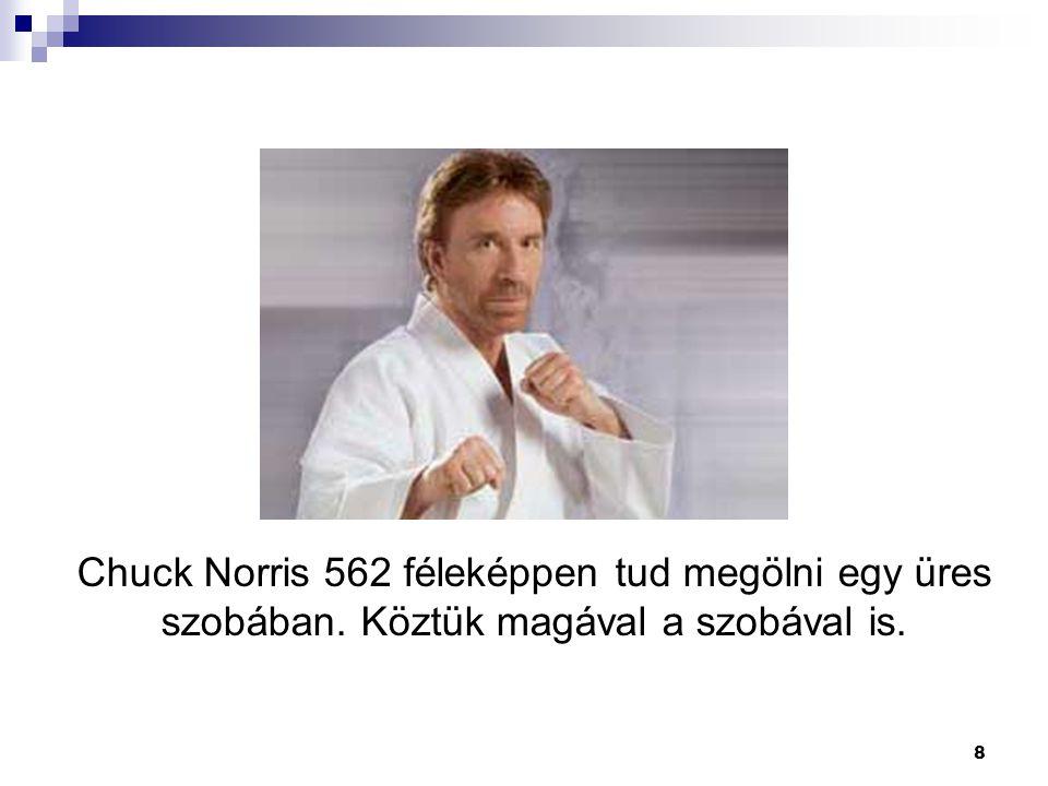8 Chuck Norris 562 féleképpen tud megölni egy üres szobában. Köztük magával a szobával is.