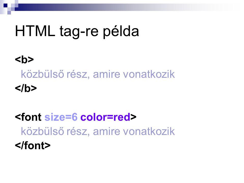 A HTML struktúra az oldal címe dokumentumtörzs