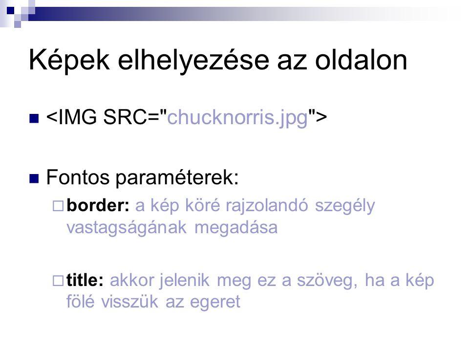 Képek elhelyezése az oldalon Fontos paraméterek:  border: a kép köré rajzolandó szegély vastagságának megadása  title: akkor jelenik meg ez a szöveg