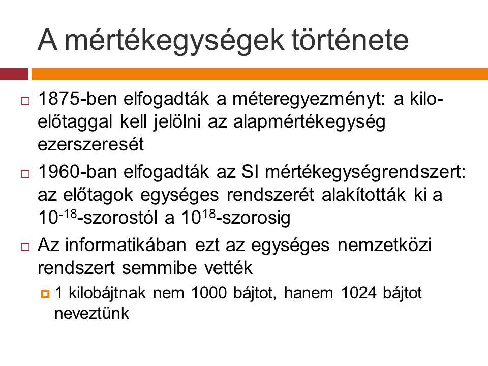 A mértékegységek története  1995-ben új előtagokra tettek javaslatot, hogy elhárítsák ezt a következetlenséget  A korábbi kilo, mega, giga, stb.
