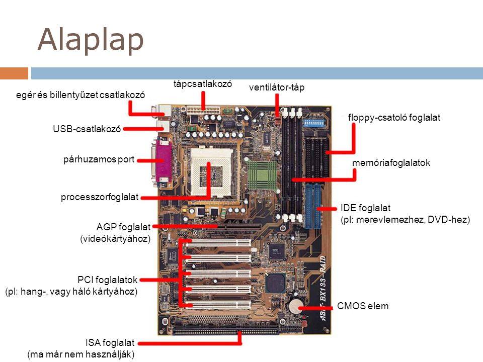 Alaplap AGP foglalat (videókártyához) PCI foglalatok (pl: hang-, vagy háló kártyához) ISA foglalat (ma már nem használják) CMOS elem IDE foglalat (pl: