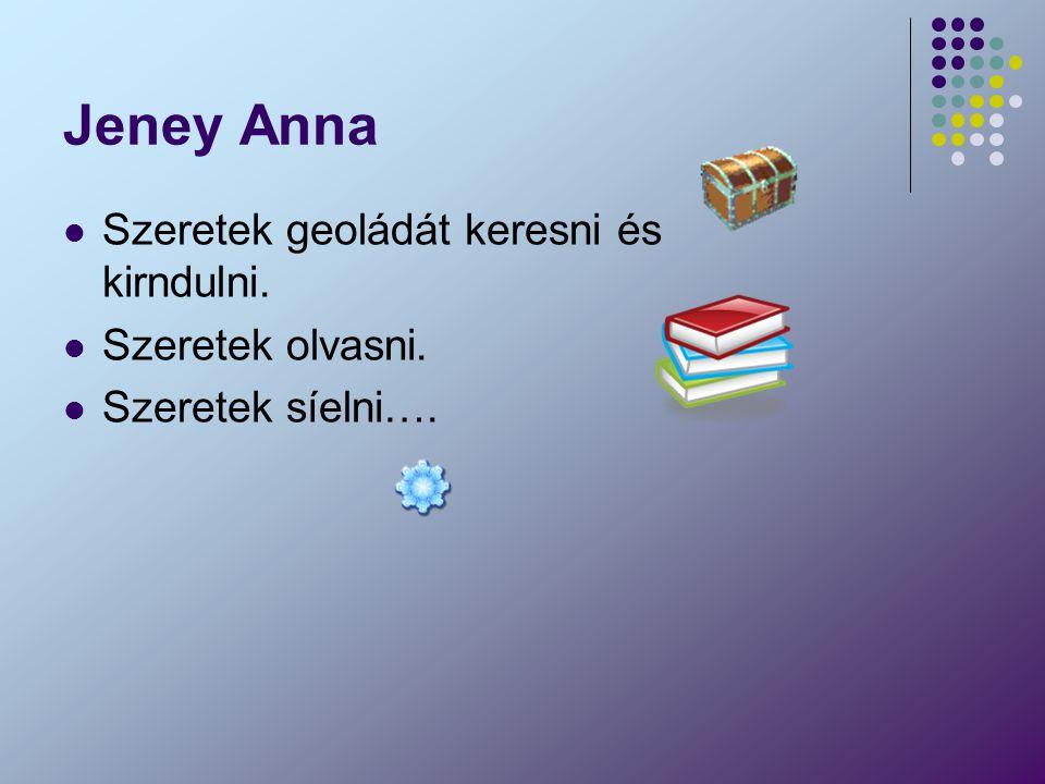Jeney Anna Szeretek geoládát keresni és kirndulni. Szeretek olvasni. Szeretek síelni….