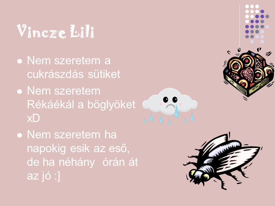 Vincze Lili Nem szeretem a cukrászdás sütiket Nem szeretem Rékáékál a böglyöket xD Nem szeretem ha napokig esik az eső, de ha néhány órán át az jó :]