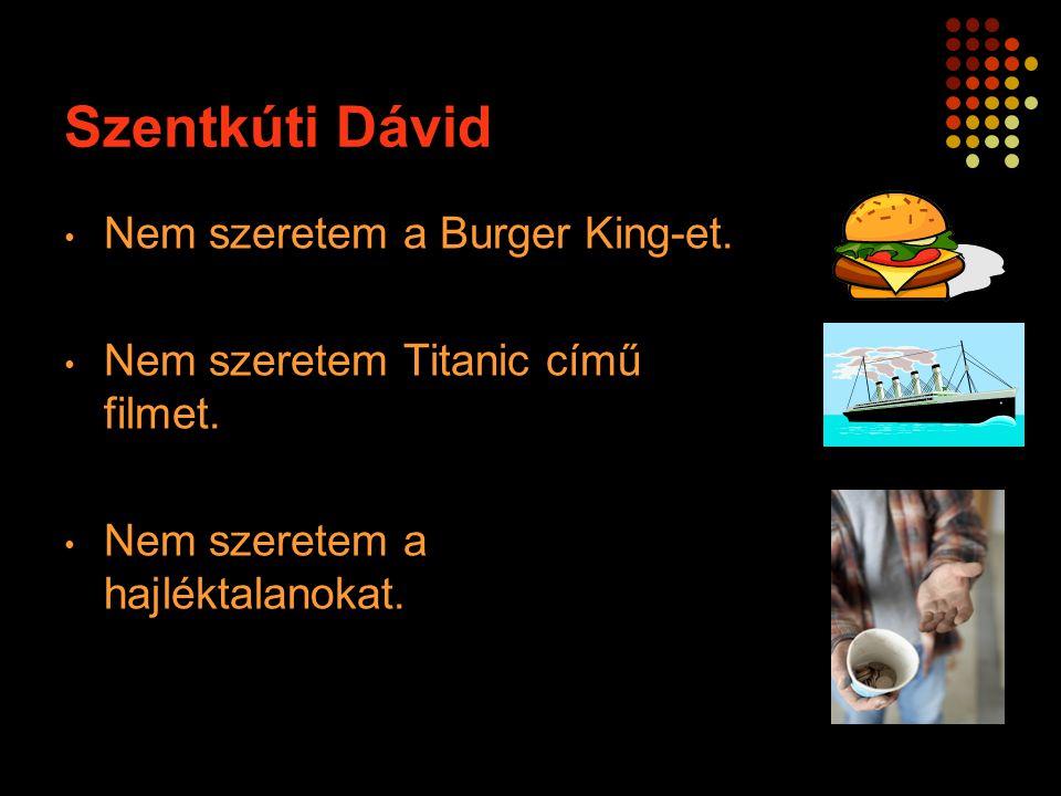 Nem szeretem a Burger King-et. Nem szeretem Titanic című filmet. Nem szeretem a hajléktalanokat.