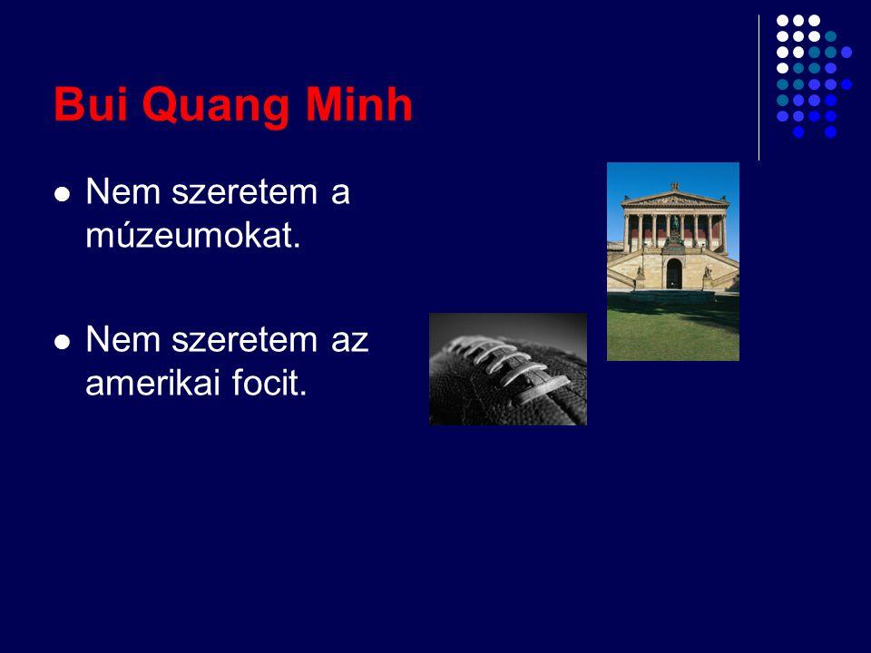 Bui Quang Minh Nem szeretem a múzeumokat. Nem szeretem az amerikai focit.