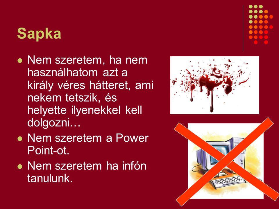 Sapka Nem szeretem, ha nem használhatom azt a király véres hátteret, ami nekem tetszik, és helyette ilyenekkel kell dolgozni… Nem szeretem a Power Poi