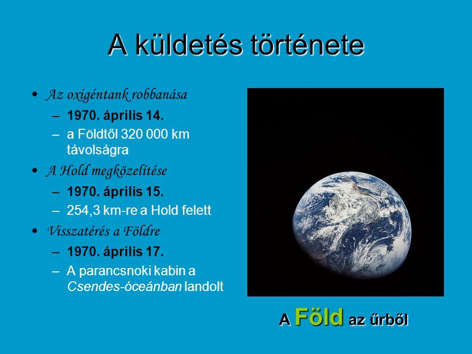 A küldetés története Az oxigéntank robbanása –1970. április 14. –a Földtől 320 000 km távolságra A Hold megközelítése –1970. április 15. –254,3 km-re