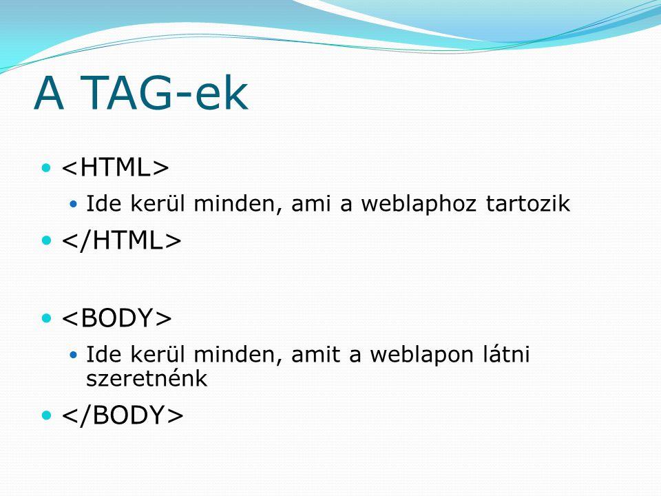 A TAG-ek Ide kerül minden, ami a weblaphoz tartozik Ide kerül minden, amit a weblapon látni szeretnénk