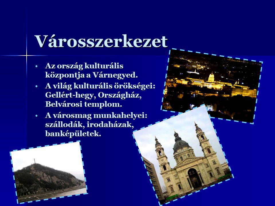 Városszerkezet Az ország kulturális központja a Várnegyed.Az ország kulturális központja a Várnegyed. A világ kulturális örökségei: Gellért-hegy, Orsz