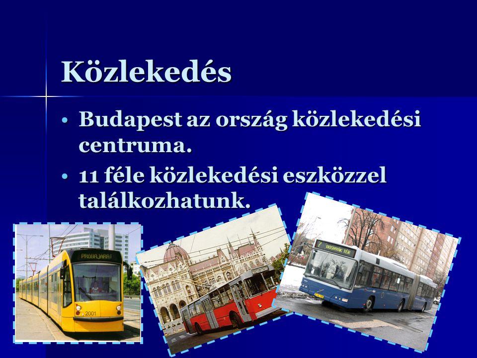 Közlekedés Budapest az ország közlekedési centruma.Budapest az ország közlekedési centruma. 11 féle közlekedési eszközzel találkozhatunk.11 féle közle