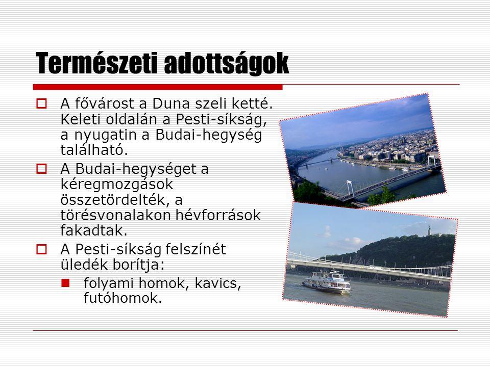 Természeti adottságok  A fővárost a Duna szeli ketté. Keleti oldalán a Pesti-síkság, a nyugatin a Budai-hegység található.  A Budai-hegységet a kére