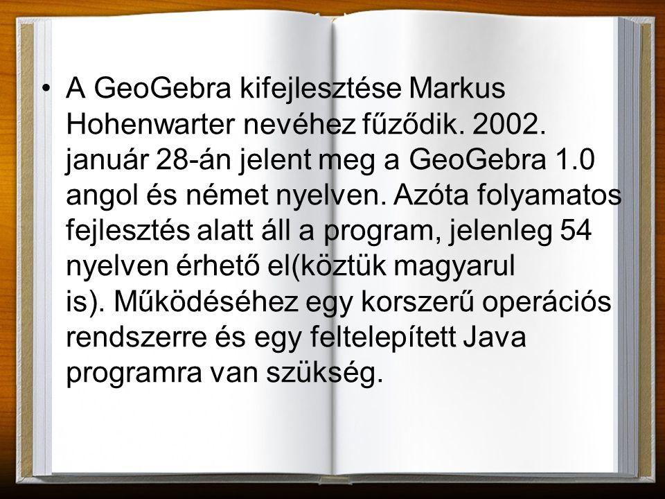A program elindítása után az alábbi felület jelenik meg: Menüsor Eszköztár Geometria ablak Navigációs eszköztár Parancssor Algebra ablak