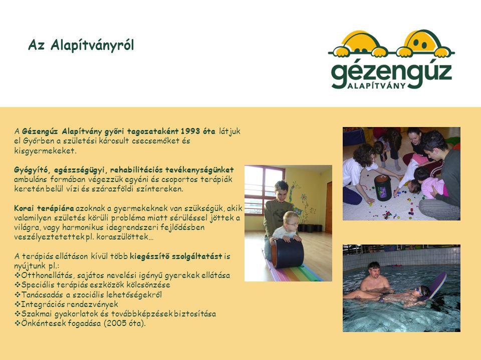Az Alapítványról A Gézengúz Alapítvány győri tagozataként 1993 óta látjuk el Győrben a születési károsult csecsemőket és kisgyermekeket.