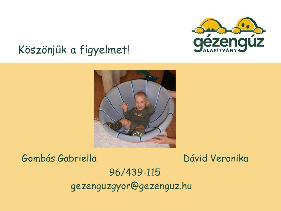 Köszön jük a figyelmet! Gombás GabriellaDávid Veronika 96/439-115 gezenguzgyor@gezenguz.hu
