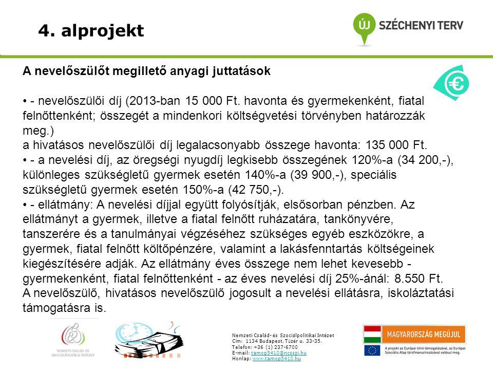 4. alprojekt A nevelőszülőt megillető anyagi juttatások - nevelőszülői díj (2013-ban 15 000 Ft.
