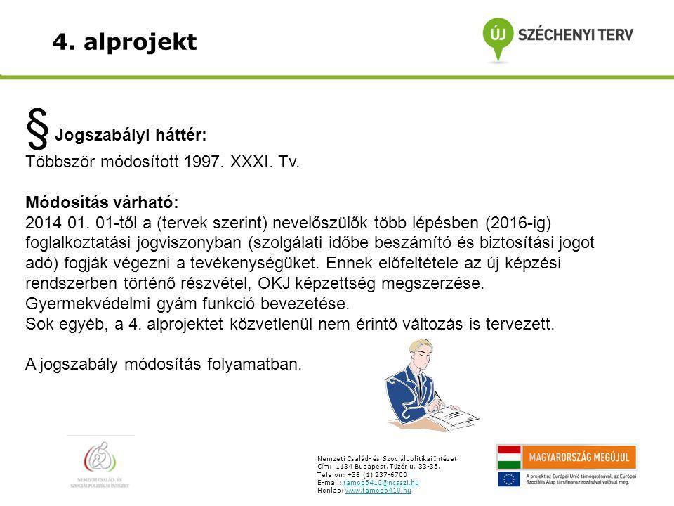 § Jogszabályi háttér: Többször módosított 1997. XXXI.