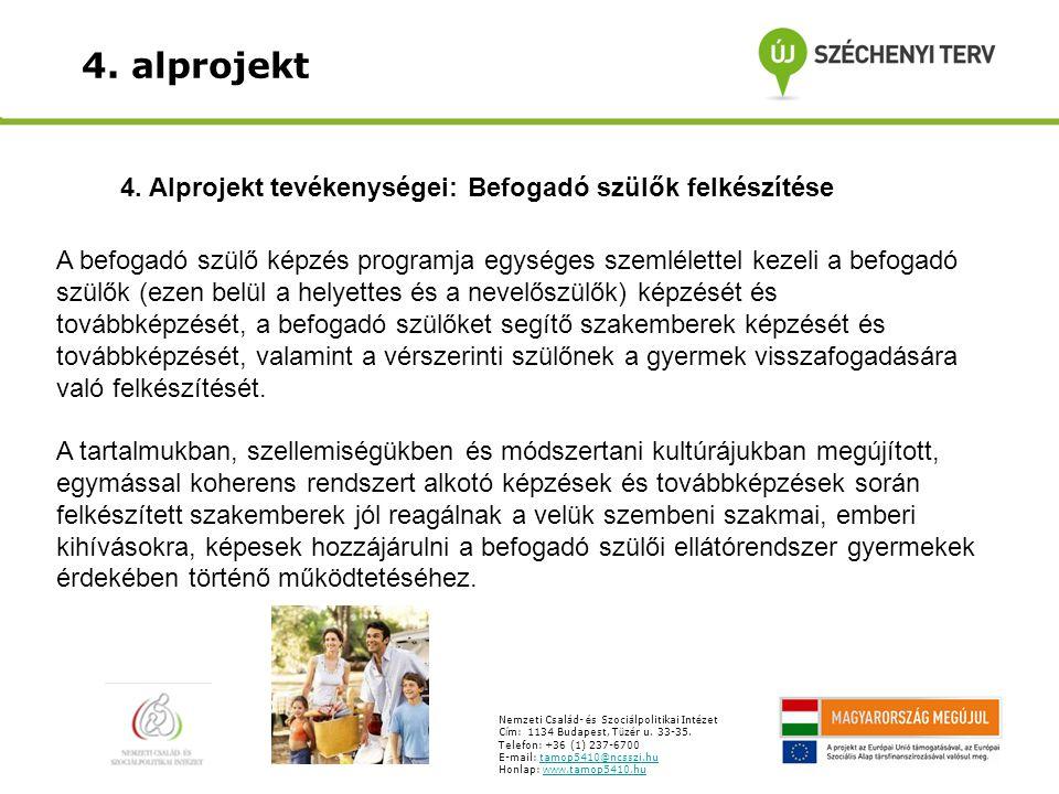 4. alprojekt A befogadó szülő képzés programja egységes szemlélettel kezeli a befogadó szülők (ezen belül a helyettes és a nevelőszülők) képzését és t