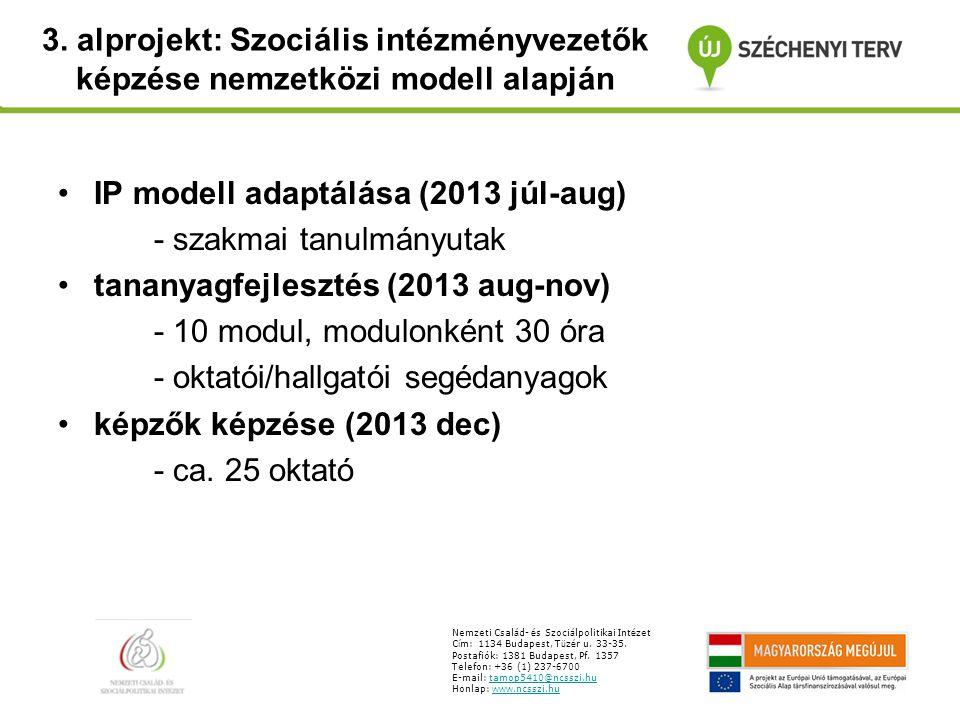 3. alprojekt: Szociális intézményvezetők képzése nemzetközi modell alapján Nemzeti Csal á d- é s Szoci á lpolitikai Int é zet C í m: 1134 Budapest, T