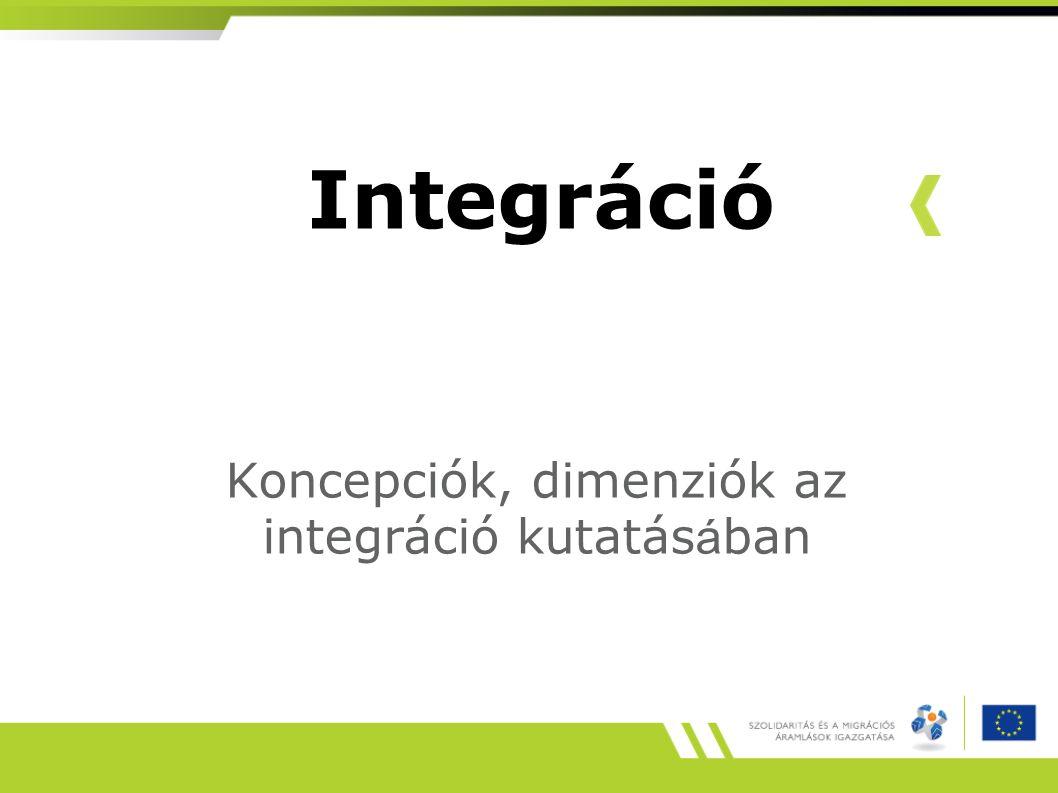 Integráció Koncepciók, dimenziók az integráció kutatás á ban