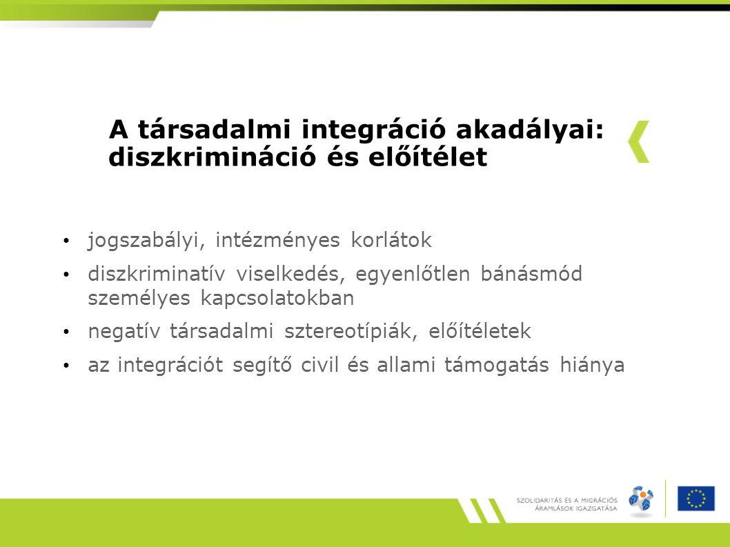A társadalmi integráció akadályai: diszkrimináció és előítélet jogszabályi, intézményes korlátok diszkriminatív viselkedés, egyenlőtlen bánásmód személyes kapcsolatokban negatív társadalmi sztereotípiák, előítéletek az integrációt segítő civil és allami támogatás hiánya
