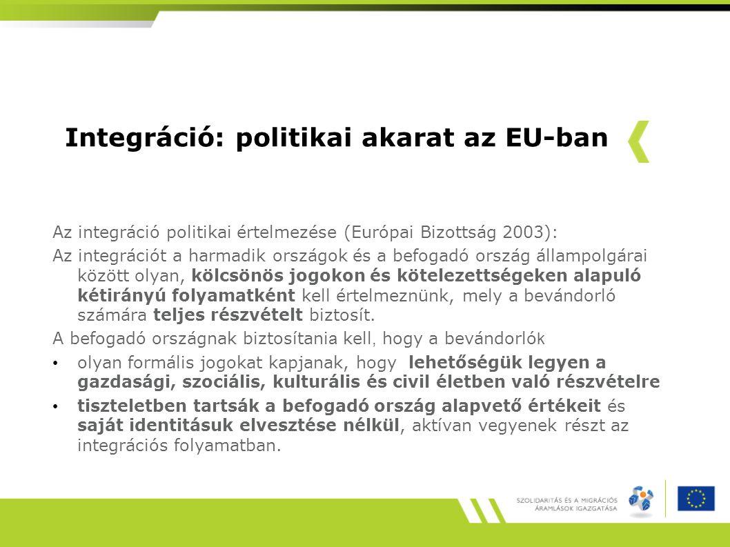 Integráció: politikai akarat az EU-ban Az integráció politikai értelmezése (Európai Bizottság 2003): Az integrációt a harmadik országok és a befogadó ország állampolgárai között olyan, kölcsönös jogokon és kötelezettségeken alapuló kétirányú folyamatként kell értelmeznünk, mely a bevándorló számára teljes részvételt biztosít.
