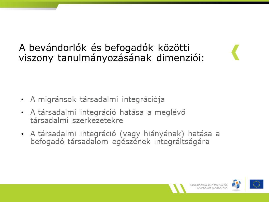 Az integrációs kutatás tematikus dimenziói Strukturális integrációKulturális integráció Gazdaság: munkaerő-piaci részvétel Oktatás és szakképzés Lakhatás Állampolgárság (politikai hozzáférés) Egészségügy Nyelv és szakértelem Értékek és normák vallás Interaktív integrációIdentifikációs integráció Barátság Házzasság, társkapcsolat Szervezeti tagság Önkéntesség Nemzetközi hálózatok Az 'oda tartozás' szubjektív érzése