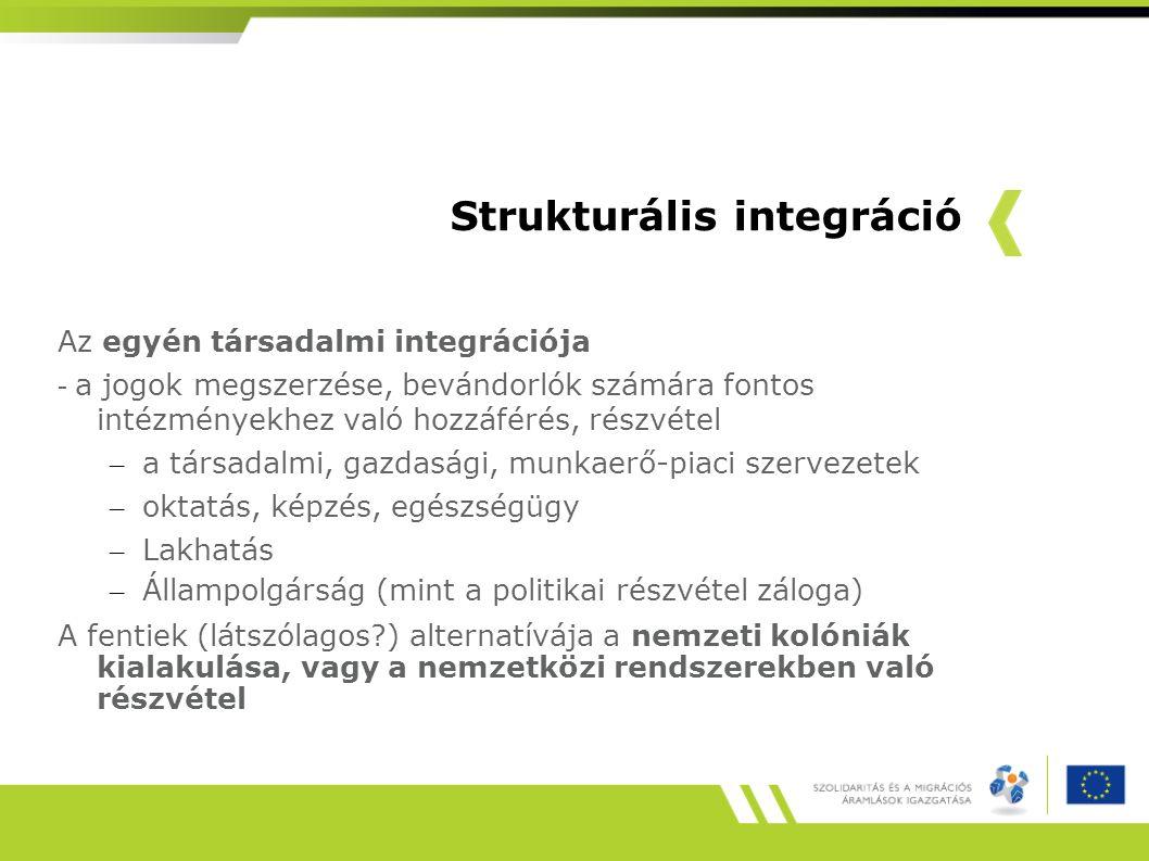 Strukturális integráció Az egyén társadalmi integrációja - a jogok megszerzése, bevándorlók számára fontos intézményekhez való hozzáférés, részvétel –