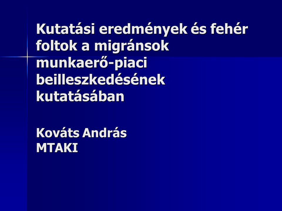 Kutatási eredmények és fehér foltok a migránsok munkaerő-piaci beilleszkedésének kutatásában Kováts András MTAKI