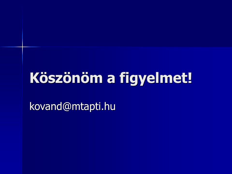Köszönöm a figyelmet! kovand@mtapti.hu