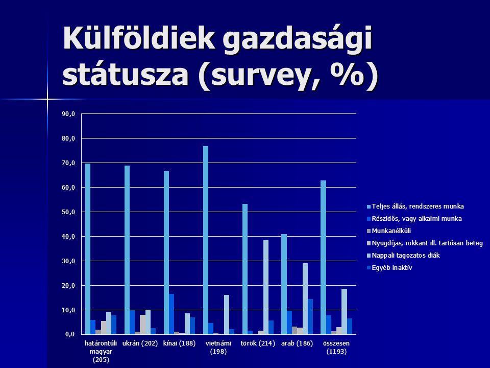 Külföldiek gazdasági státusza (survey, %)