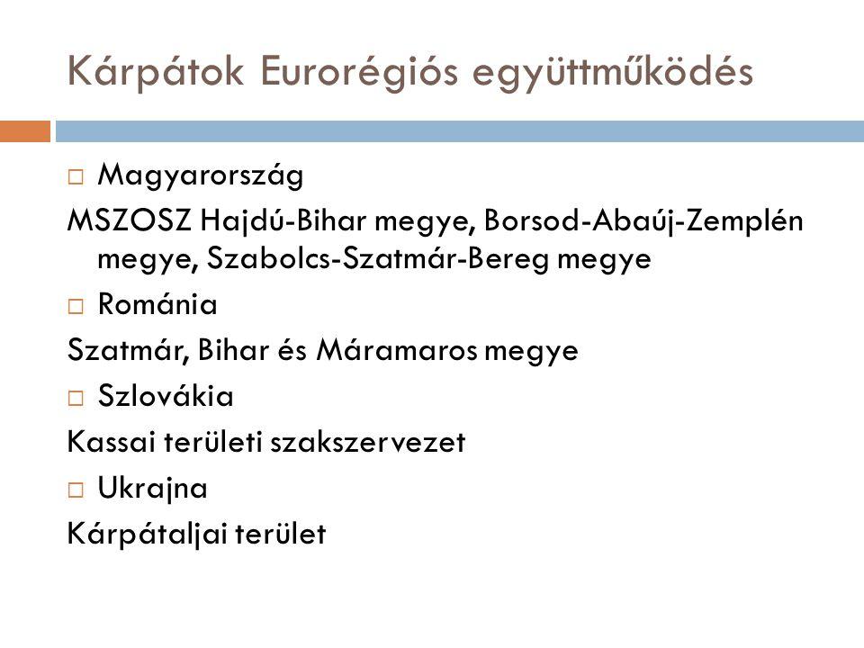 Kárpátok Eurorégiós együttműködés  Magyarország MSZOSZ Hajdú-Bihar megye, Borsod-Abaúj-Zemplén megye, Szabolcs-Szatmár-Bereg megye  Románia Szatmár, Bihar és Máramaros megye  Szlovákia Kassai területi szakszervezet  Ukrajna Kárpátaljai terület