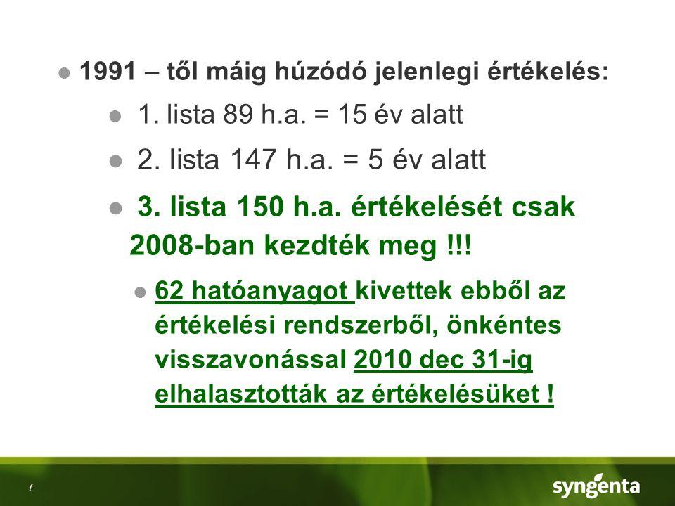 8 ● 3-as lista 2008-2009-ben értékelt hatóanyagai 2008- 9-es EU engedéllyel 2018-19-ig érvényesek.