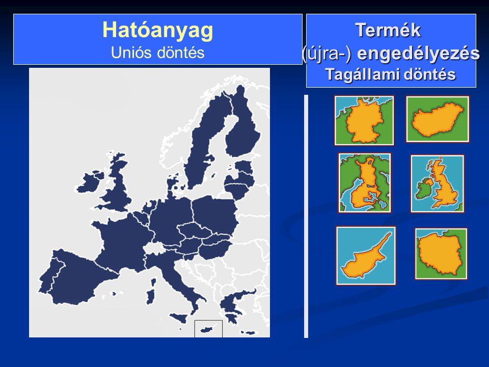 Hatóanyag Uniós döntésTermék (újra-) engedélyezés Tagállami döntés