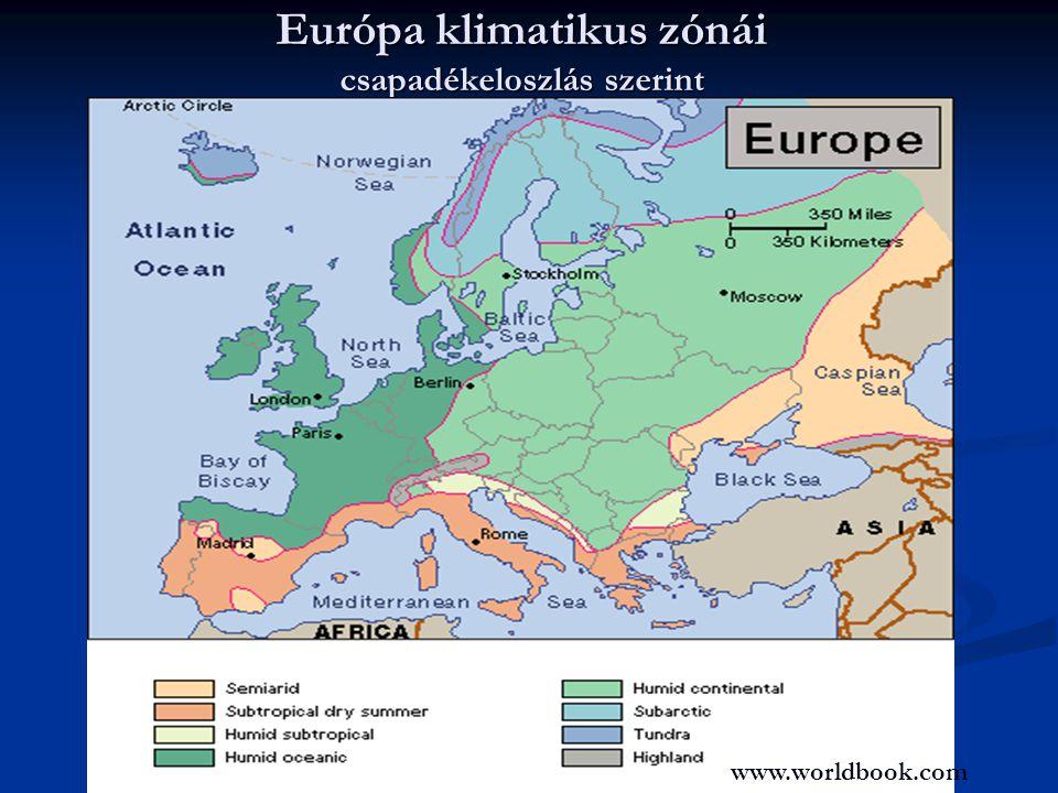 Európa klimatikus zónái csapadékeloszlás szerint www.worldbook.com