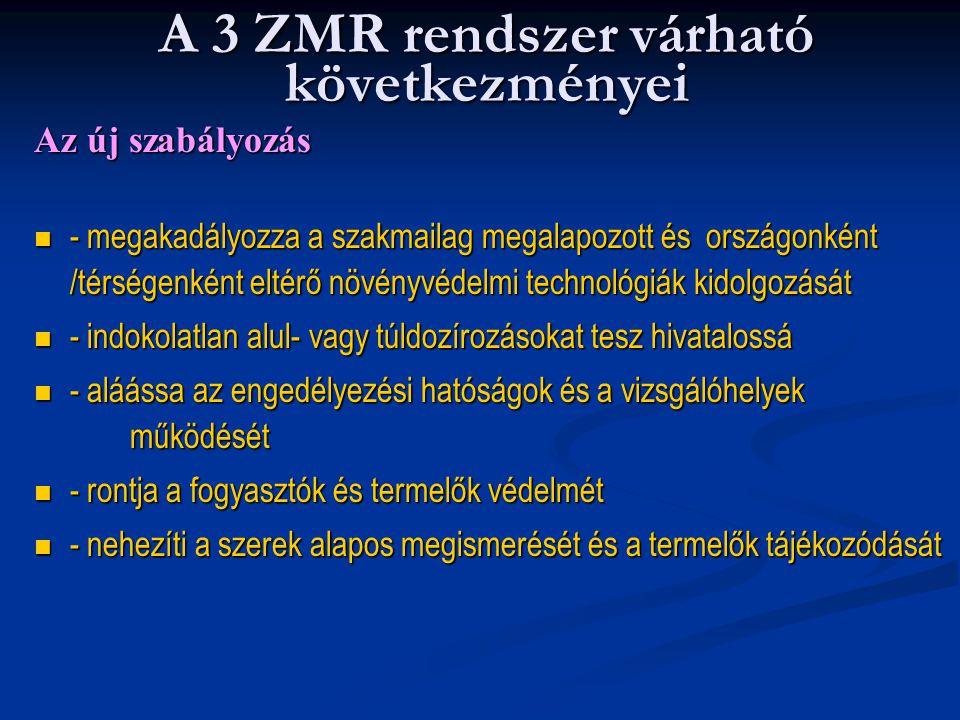 A 3 ZMR rendszer várható következményei Az új szabályozás - megakadályozza a szakmailag megalapozott és országonként /térségenként eltérő növényvédelm