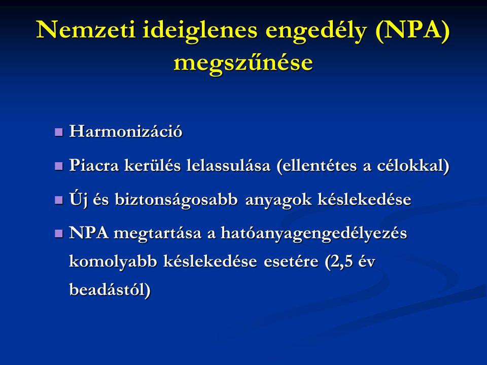 Nemzeti ideiglenes engedély (NPA) megszűnése Harmonizáció Harmonizáció Piacra kerülés lelassulása (ellentétes a célokkal) Piacra kerülés lelassulása (