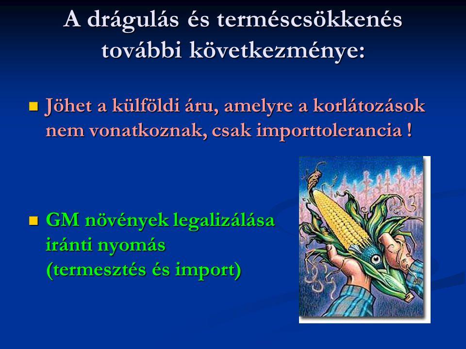 A drágulás és terméscsökkenés további következménye: Jöhet a külföldi áru, amelyre a korlátozások nem vonatkoznak, csak importtolerancia ! Jöhet a kül