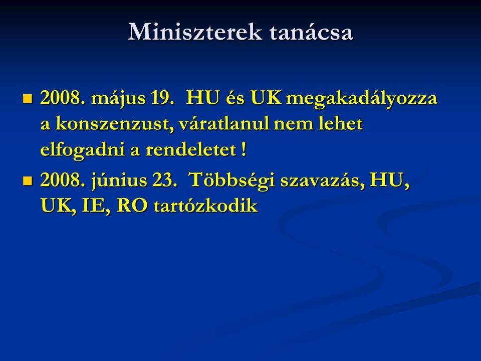 Miniszterek tanácsa 2008. május 19. HU és UK megakadályozza a konszenzust, váratlanul nem lehet elfogadni a rendeletet ! 2008. május 19. HU és UK mega