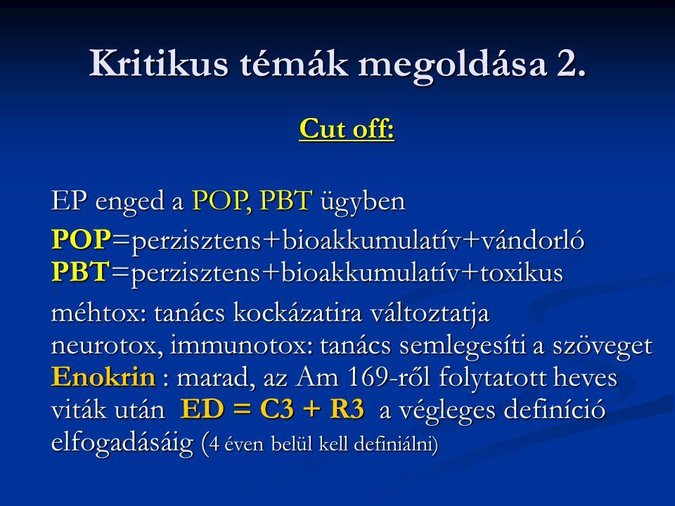 Cut off: EP enged a POP, PBT ügyben EP enged a POP, PBT ügyben POP=perzisztens+bioakkumulatív+vándorló PBT=perzisztens+bioakkumulatív+toxikus méhtox: