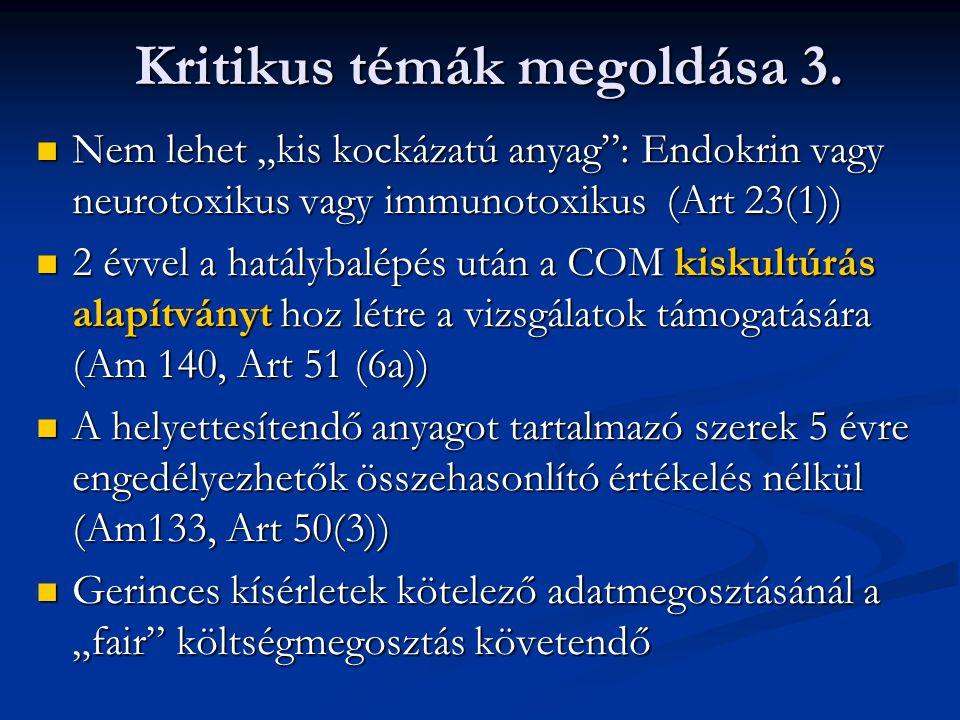 """Nem lehet """"kis kockázatú anyag"""": Endokrin vagy neurotoxikus vagy immunotoxikus (Art 23(1)) Nem lehet """"kis kockázatú anyag"""": Endokrin vagy neurotoxikus"""